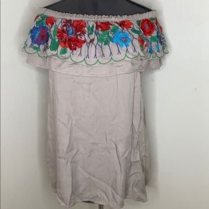 NWT Umgee embroidered gray dress Small